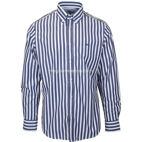 vasta selezione di 3095a 962b0 Harmont Blaine Camicia Uomo A Righe Taglia Internazionale L Colore Blu